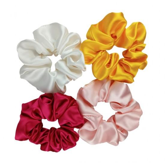 """Сет """"Квітковий"""" з чотирьох широких шовкових резиночок"""