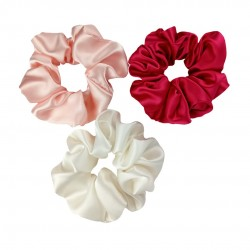 "Set ""Sakura"" of three wide silk scrunchies"