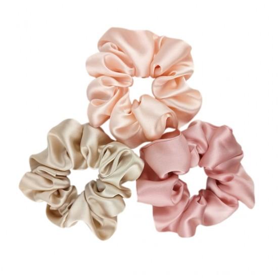 """Marshmallow set"" of three wide silk scrunchies"