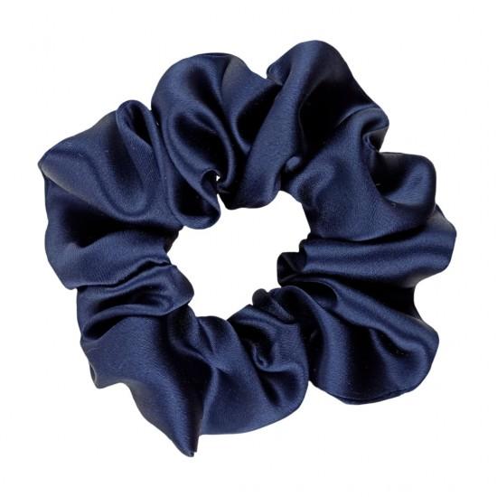 Шелковая резиночка для волос, широкая, Космический синий