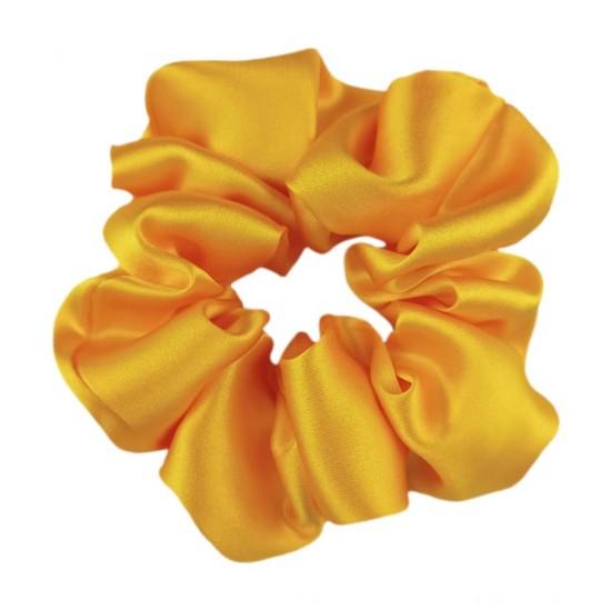 Шовкова резиночка для волосся, широка, сонячний жовтий