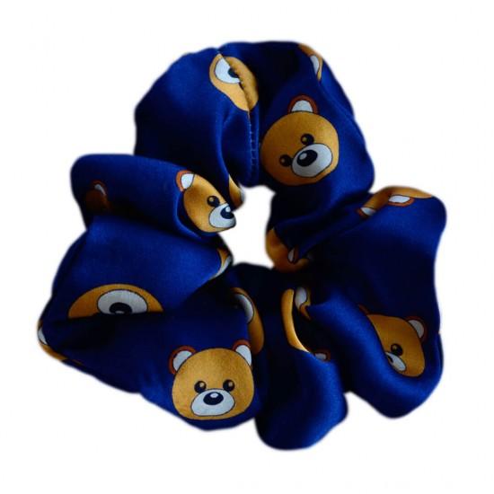 Wide Silk scrunchie, Toy Bear Blue print