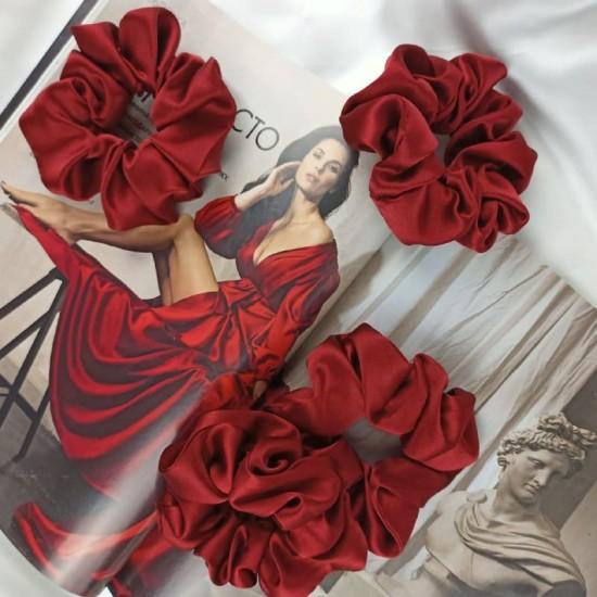 Шелковая резиночка для волос, широкая, Венецианский красный