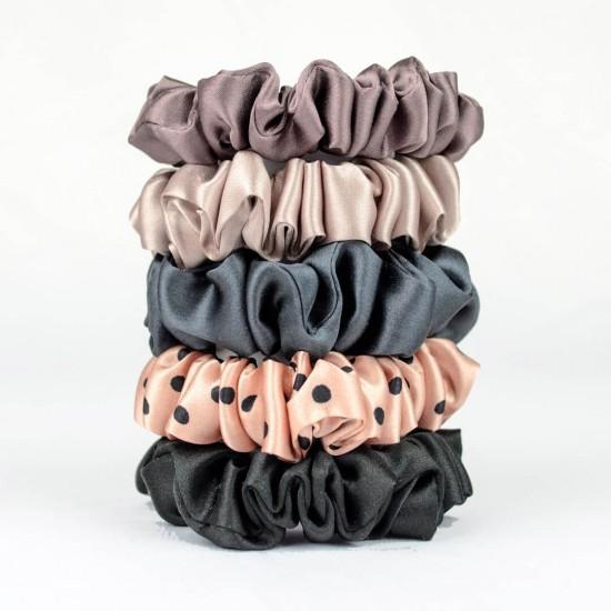 "Set ""Parisian"" of five narrow silk scrunchies"