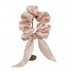 Шовкова резиночка для волосся с вушками, Кремово-рожевий