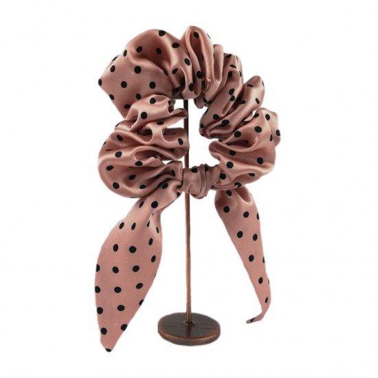 Шовкова резиночка для волосся с вушками, Polka Dot