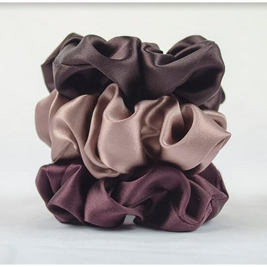 """Chocolate set"" of three wide silk scrunchies"