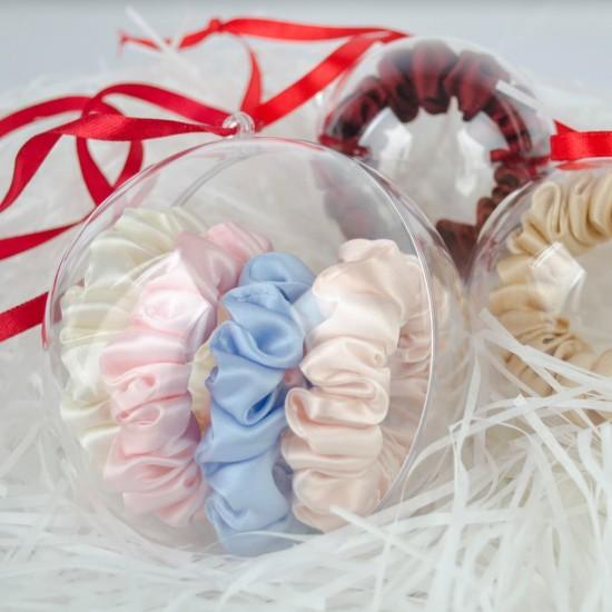 Christmas ball decoration with four narrow silk scrunchies