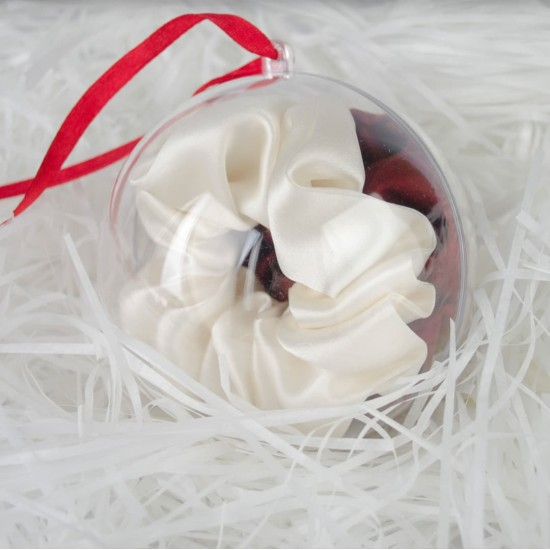 Christmas ball decoration with two wide silk elastic scrunchies