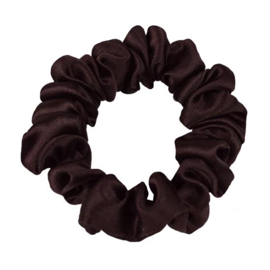 Шовкова резиночка для волосся, вузька, гіркий шоколад
