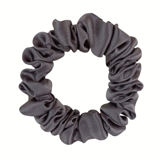 Narrow Silk scrunchie, Dark gray