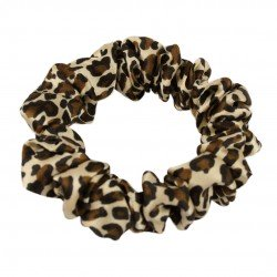Narrow Silk scrunchie , Leopard print