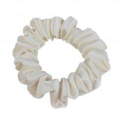 Шовкова резиночка для волосся, вузька, молочна