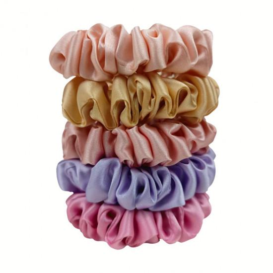 Set Confetti  - set of five narrow silk scrunchies