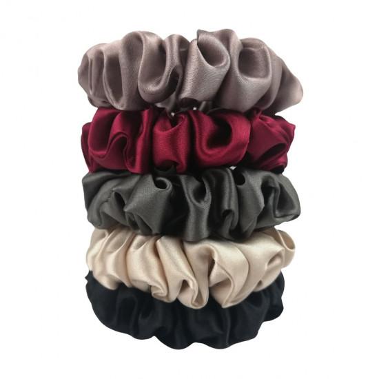 "Set ""Dilova Pani"" of five narrow silk scrunchies"