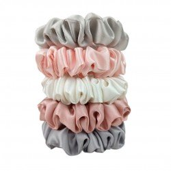 Набор из пяти узких шелковых резиночек Фламинго
