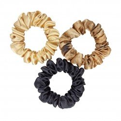 """Set """"Gold and Junle"""" of three narrow silk scrunchies"""