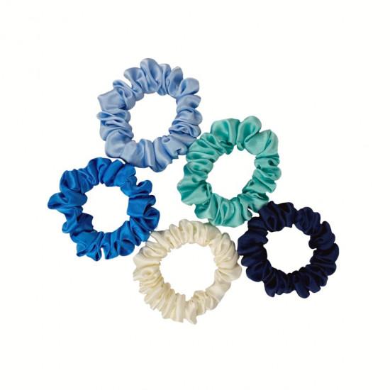 Set Marine - set of five narrow silk scrunchies