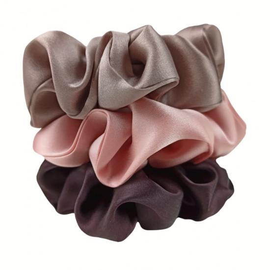 "Set ""Lolita "" of three wide silk scrunchies"