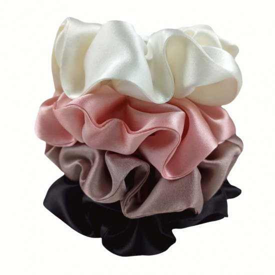 "Set ""Juliet"" of four  wide silk scrunchies"