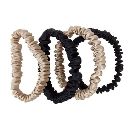 Набор шелковых резиночек для волос, Скинни, Бежевые, Черные
