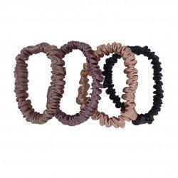 Набір шовкових резиночок для волосся, Скінні, Молочний шоколад, Брауні, Rose beige, Чорна