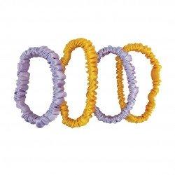 Набір шовкових резиночок для волосся, Скінні, Cонячний жовтий, Лавандовий