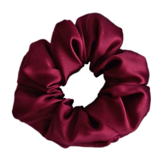 Шелковая резиночка для волос, широкая, Бордо