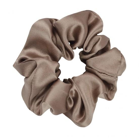 Шелковая резиночка для волос, широкая, Кофе Латте