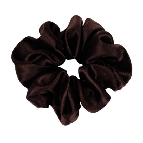 Шелковая резиночка для волос, широкая, Горький шоколад