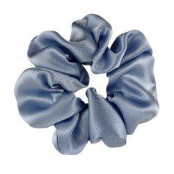 Шелковая резиночка для волос, широкая, серо-голубая