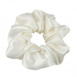 Шовкова резиночка для волосся, широка, молочна