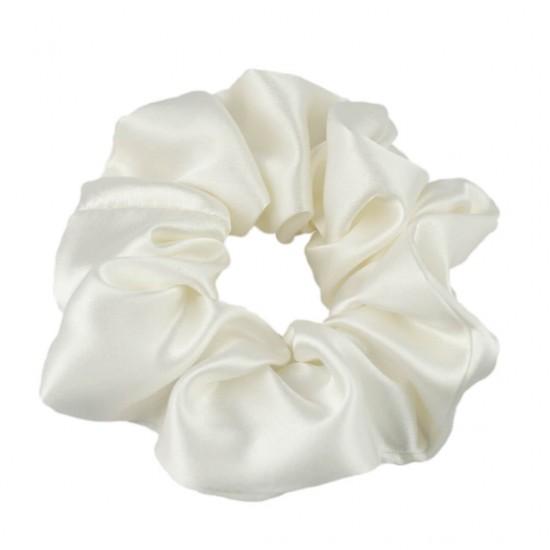 Шовкова резиночка для волосся, розмір М, молочна
