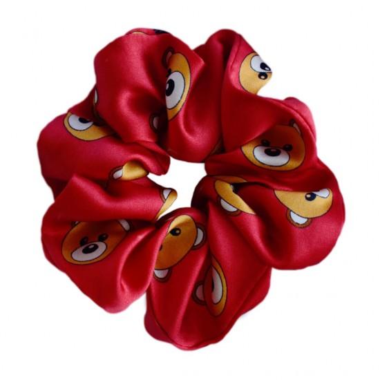 Wide Silk scrunchie, Toy Bear Red print