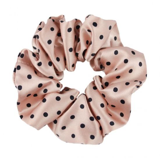 Wide Silk scrunchie,   Polka Dot
