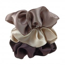 """Coffee set"" of three wide silk scrunchies"