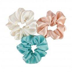 """Set """"Fresh"""" of three wide silk scrunchies"""