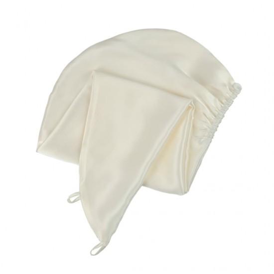 Шелковый тюрбан-полотенце, в молочном цвете
