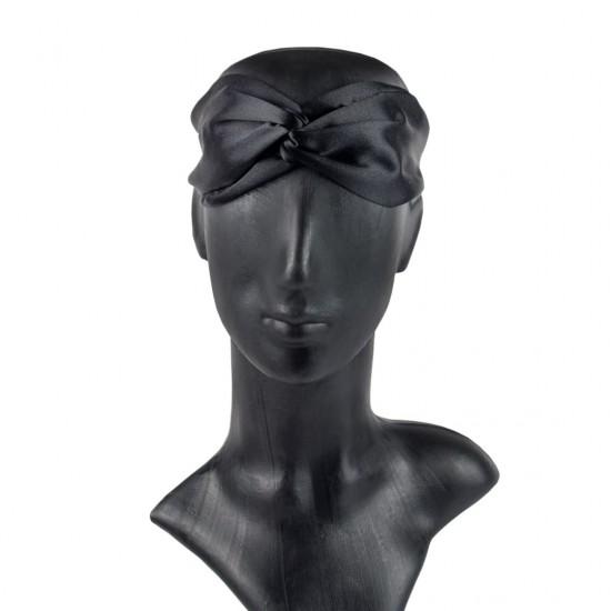 Шовкова пов'язка для волосся, чорна