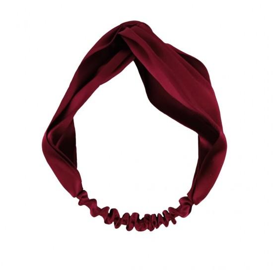 Шелковая повязка для волос, бордовая