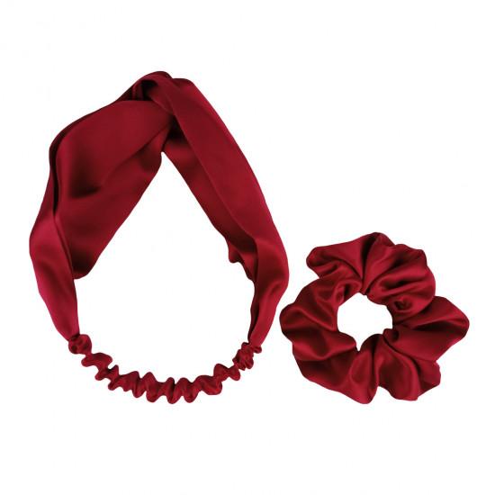 Шелковый набор: повязка для волос + резиночка, Бордо