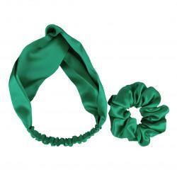 Шовковий набір: пов'язка для волосся + резиночка, Яскраво зелений