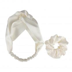 Шовковий набір: пов'язка для волосся + резиночка, Молочний