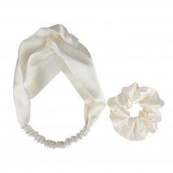 Шелковый набор: повязка для волос + резиночка, Молочный