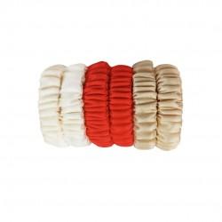 Набор детских шелковых резиночек для волос, Скинни, Milky-Scarlet-Beige Gold