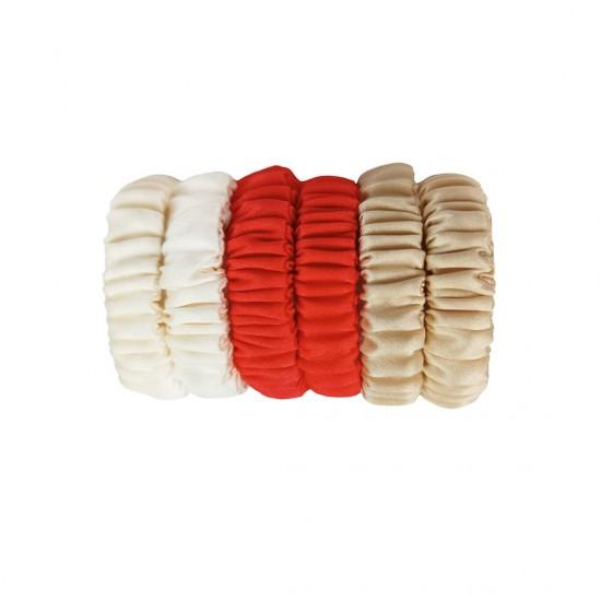 Kids Skinny scrunchie set, Milky-Scarlet-Beige Gold