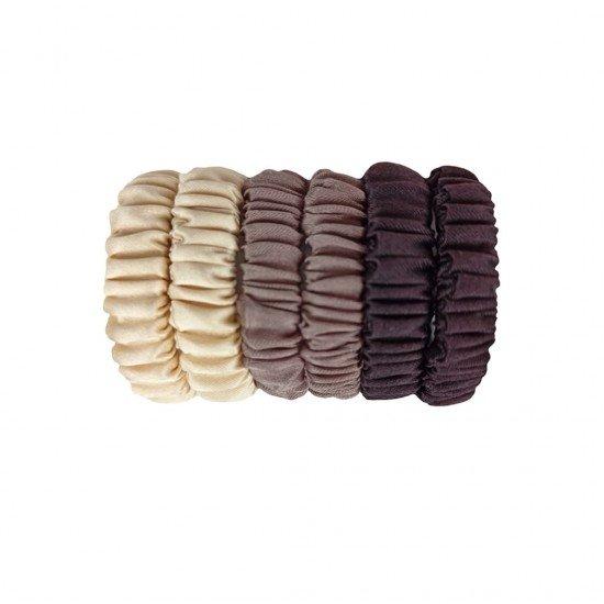 Набор дитячих шовкових резиночок для волосся, Скінні, Beige Gold, Молочний і Гіркий шоколад