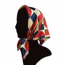 Silk scarf, Geometric Fay print (60x60 cm)