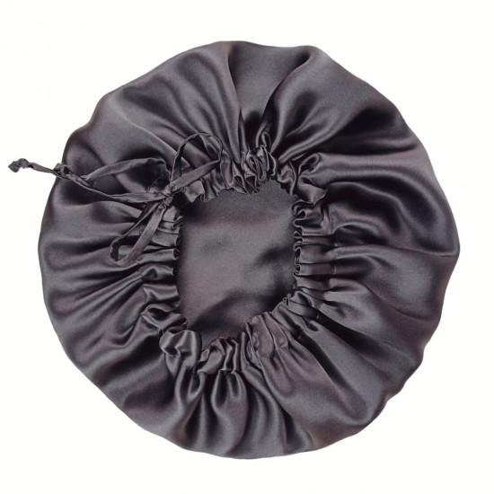 Double Sided Silk Sleep Cap ajustable size, Bonnet Silk Sleep Cap, Dark gray