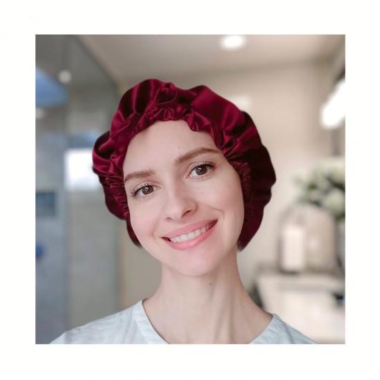 Double Sided Silk Sleep Cap ajustable size, Bonnet Silk Sleep Cap, Wine